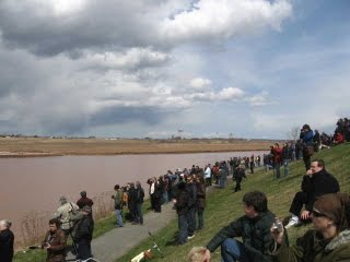 Crowds watching the opening of the Causeway at Riverview opening