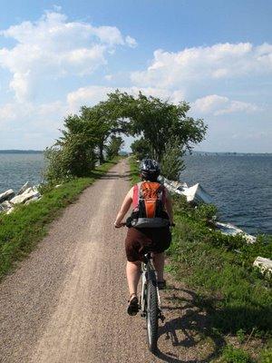 Biking across the Island Line Causeway in Vermont.