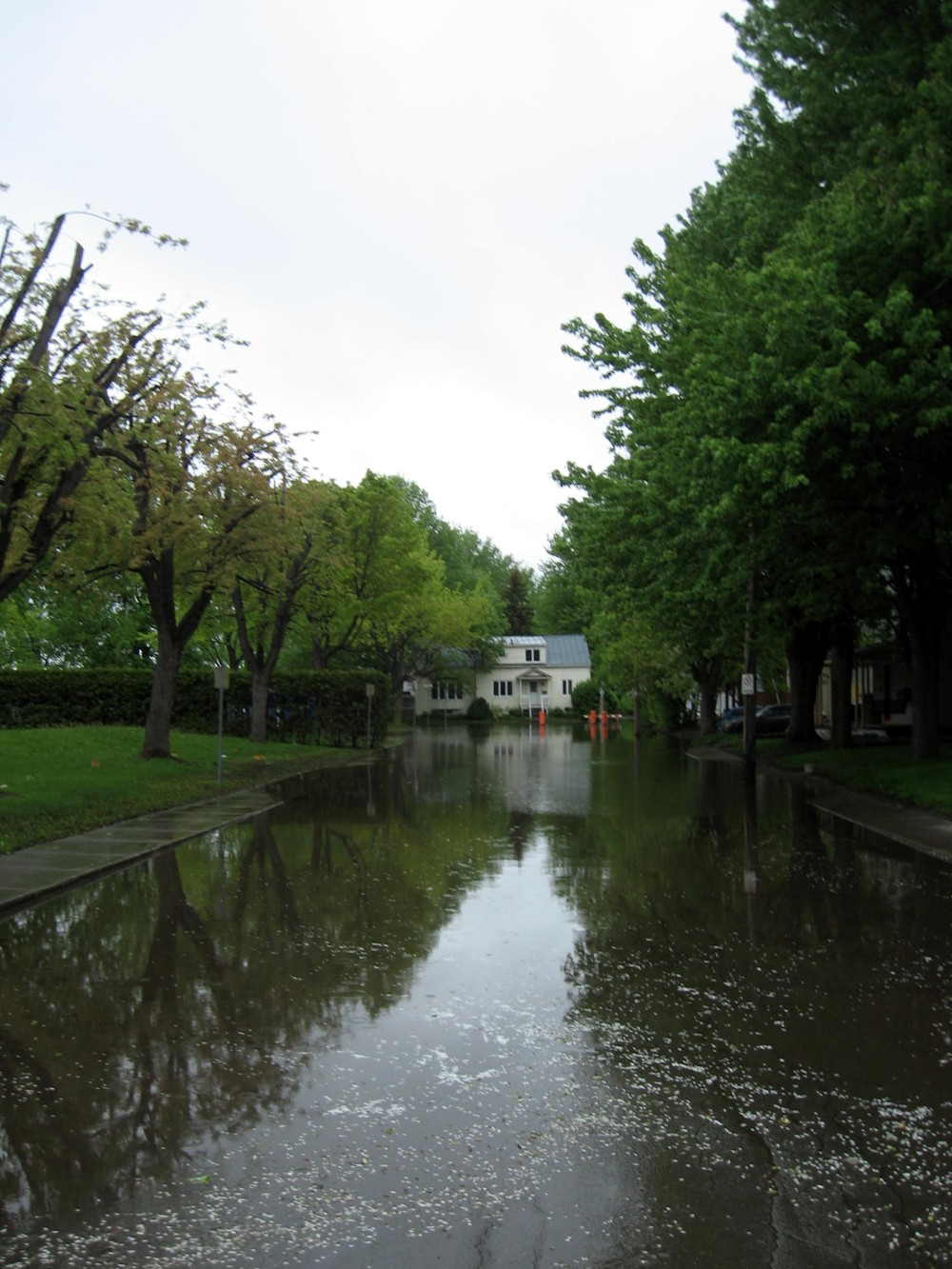 Flooded streets in annual flood in Quebec town of St Jean sur Richelieu