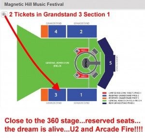 U2 Arcade Fire Tickets here in the grandstand...could be amazing!! Hmmmm...