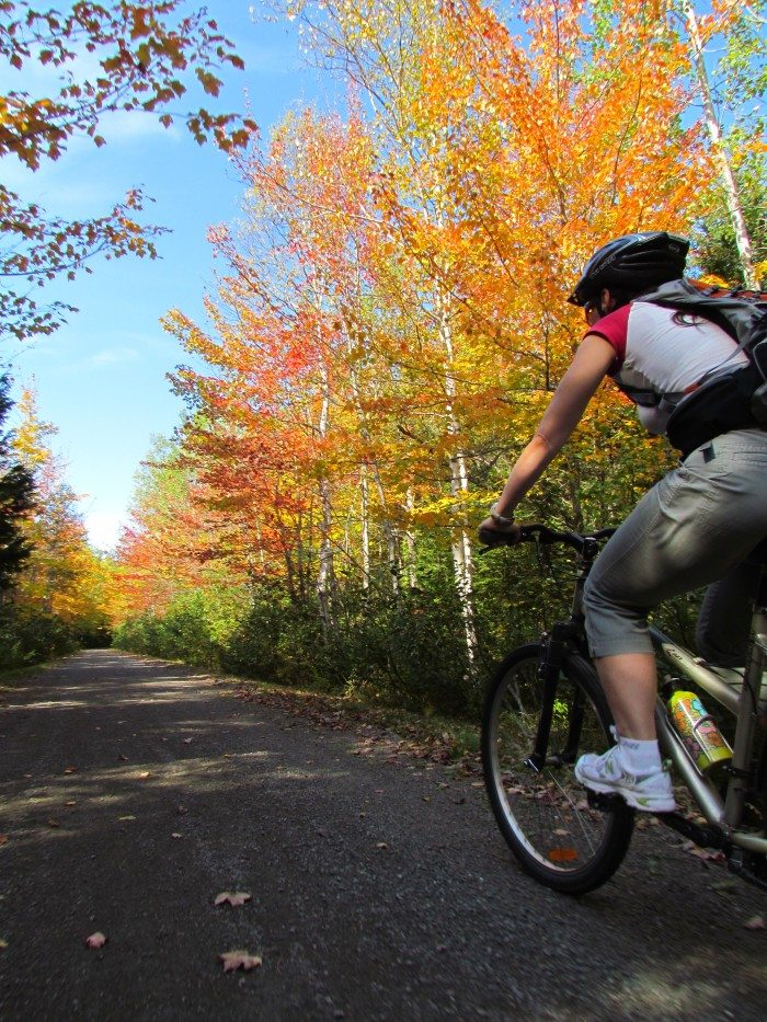 There are 60 kilometers of bike trails in Kouchibougouac and when the autumn leaves are red and orange it is amazing to ride the gentle trails around the park!