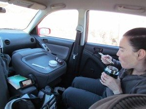 When it's cold outside the best place to picnic is in the car! We fold the front seats up, hip in the back and enjoy our lunch while watching some TV on the iPhone!