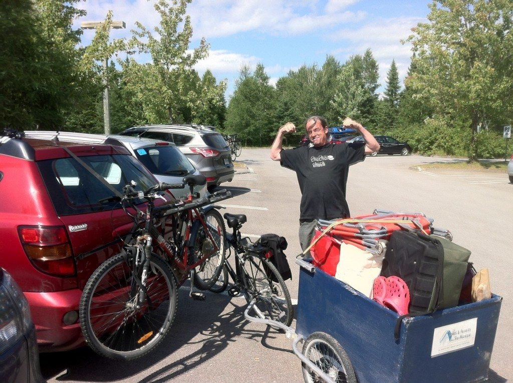 "We are at the start of our bike ride to the campsite. The trailer is packed and ready to be towed the 4km to the campsite. We are staying at ""Le Prospecteur"""