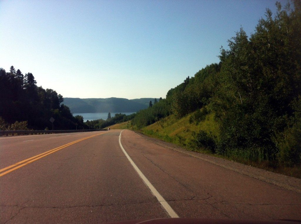 Driving on Highway 170 to Saguenay