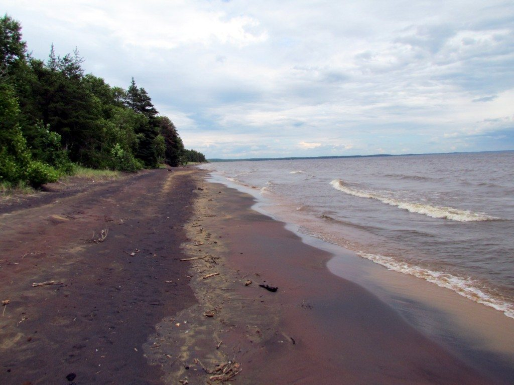 The amazing beach on the shores of Lac St. Jean were only a few steps away from our tent!
