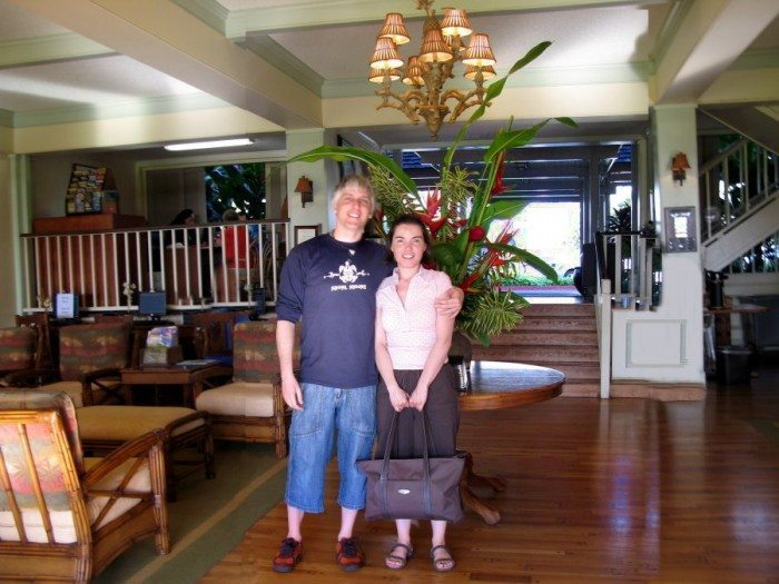 DD and I were totally enchanted by the Resort Quest Islander on the Beach in Kauai. Our suite was right above this open and lovely lobby!