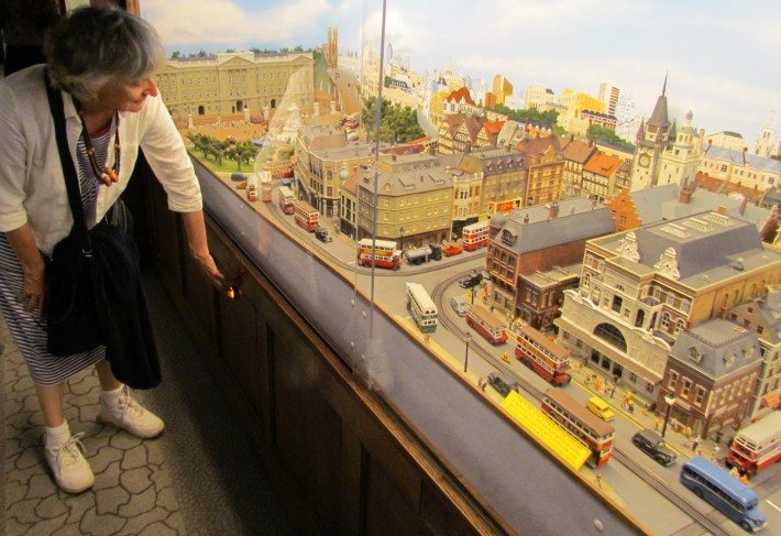 Inside many of the miniature diorama displays are animated scenes that come to life at the push of a button. Buses and cars move, trains pass, gates open and people come to life!