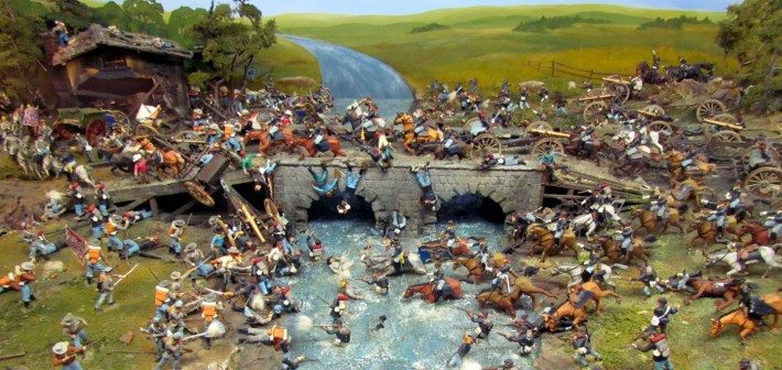 The stone bridge over the river is the scene for a drmatic and bloody battle between Knights of opposing kingdoms!