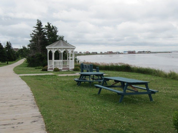 North Rustico Bay with the picnic tables and gazebo.