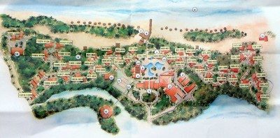 This is a map of the grounds of the resort showing the discotheque, all the rooms, the bars, main stage and the large pool areas. It was quite a fantasy land!