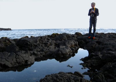 DAMI stands on the Black sand beaches of Hawaii looking for turtles. Photo by DD.