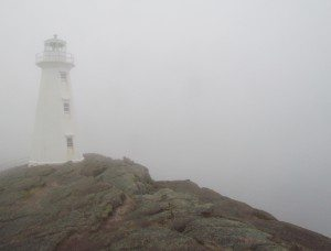 The lighthouse at Cape Spear was barly noticeable until you were right beside it as the fog was so thick.