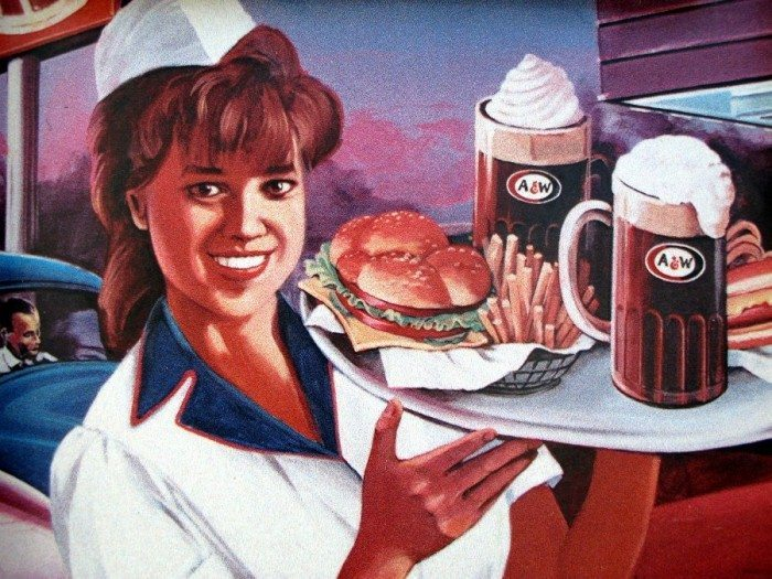 The A & W mural at the Newark Airport. We ate sushi even though the thought of a Papa burger was appealing!