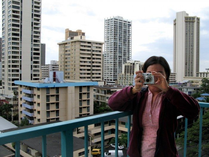 DD on the Lanai of the Aqua Aloha Surf And Spa Hotel in Waikiki. It was a bit noisy in the morning but we were so pumped at being in Hawaii that nothing seemed to phase us! And overall the place was great and centrally located