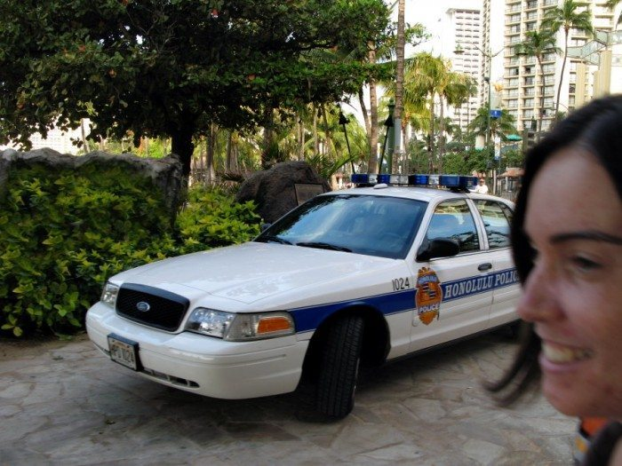 Hawaii Five-O on the beach of Waikiki. The police station is right on the beach and when we saw the police cruiser you just know we broke into a vocal version on the Five-O theme song!
