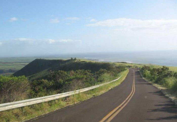 Driving on Highway 56 on the road past Waimea Bay Kauai. What a great road and incredible views of the ocean!