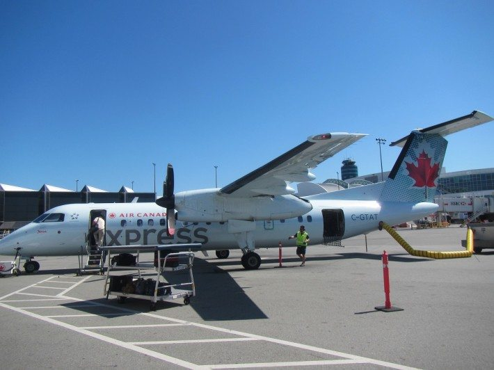 We flew with Air Canada on this Express plane from Vancouver to Victoria, British Columbia. It was a short fifteen minute flight.